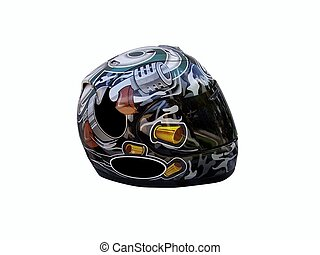 Motorcycle Helmet with smoked tinted reflective lens.