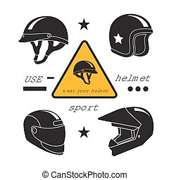 Motorcycle helmets icons set