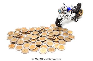motorcycle, hen, et lot, i, gylden, mønter, (isolated, på, white)