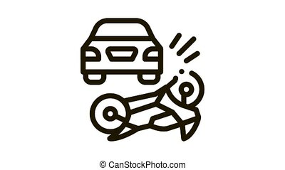 motorcycle hit by car Icon Animation. black motorcycle hit by car animated icon on white background