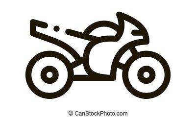 Motorcycle Icon Animation. black Motorcycle animated icon on white background