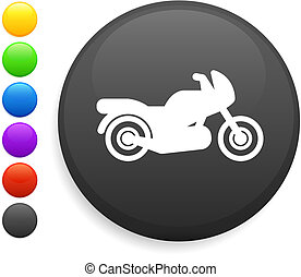 motorcycle icon on round internet button original vector...