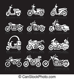 Motorcycle Icons set. Vector