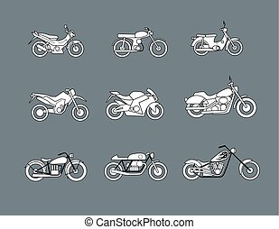 motorcycle icons, vector illustration