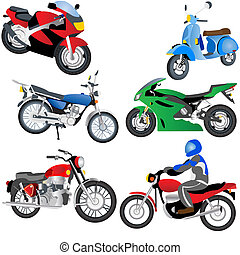 Motorcycle Icons - Vector illustration of different...