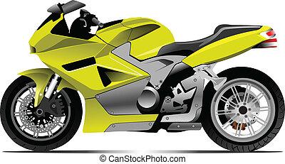 motorcycle., illust, esboço, vetorial