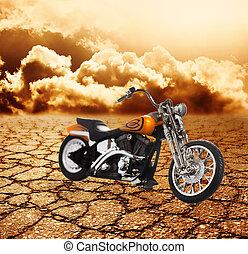 Motorcycle in a desert
