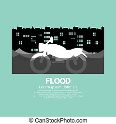 Motorcycle In A Flood Vector.