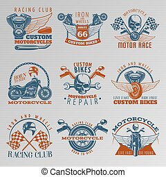 Motorcycle In Color Emblem Set