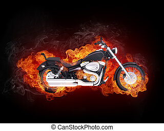 Motorcycle in Fire Isolated on Black Background.. Computer Graphics.