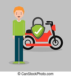 motorcycle insurance concept icon