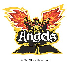 Motorcycle labels, badges, logotype and design elements. Vector illustration for motorcycle club Angels.