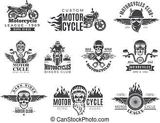 Motorcycle labels. Biker badges with speed symbols engine motor race chopper skull and fire vector pictures collection