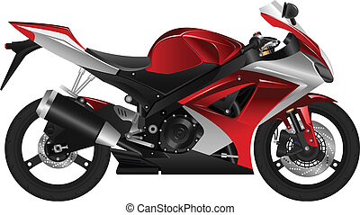 Layered vector illustration of a red motorcycle.
