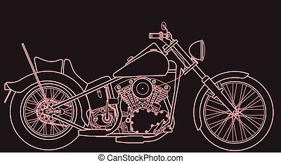 Motorcycle line drawing sign