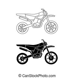 Motorcycle line icons.