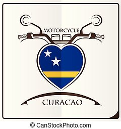 motorcycle logo made from the flag of Curacao