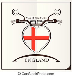 motorcycle logo made from the flag of England