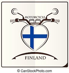 motorcycle logo made from the flag of Finland