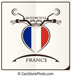 motorcycle logo made from the flag of France