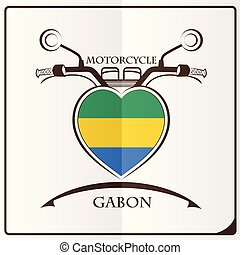 motorcycle logo made from the flag of Gabon