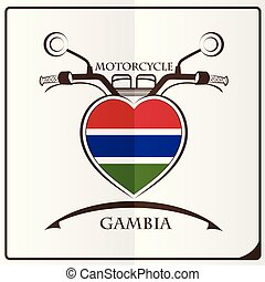 motorcycle logo made from the flag of Gambia