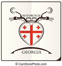 motorcycle logo made from the flag of Georgia