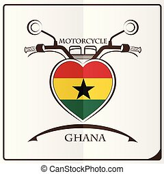motorcycle logo made from the flag of Ghana