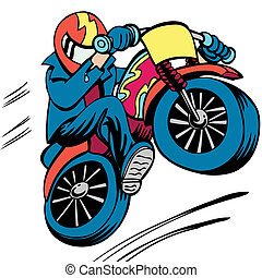 Motorcycle Man cartoon character isolated on a white background