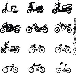 Motorcycle, motorbike, scooter, chopper and bicycle vector silhouette icons