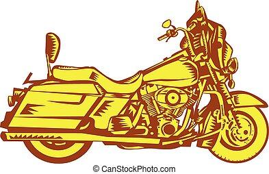 Motorcycle Motorbike Woodcut - Illustration of a motorcycle...