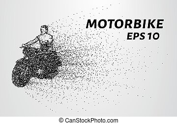Motorcycle of the particles. Motorbike consists of small circles. Vector illustration