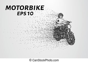 Motorcycle of the particles. The motorbike breaks down into small molecules. Vector illustration