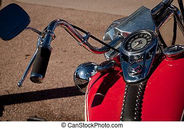 Motorcycle - Old Harley Davidson motorcycle at the gas ...