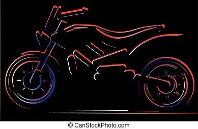 Motorcycle on black background, moto illustration