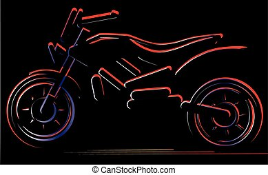 Motorcycle on black background, moto illustration -...