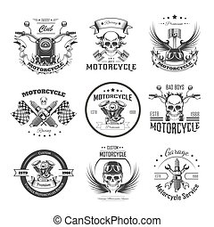 Motorcycle or bikers club logo templates for bike motor...