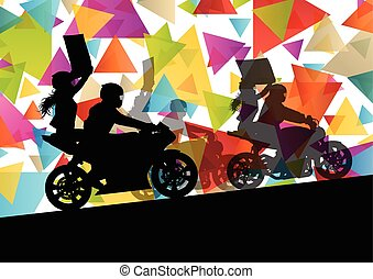 Motorcycle performance extreme stunt driver man and woman in abstract sport landscape background illustration