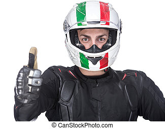 Motorcycle - Portrait of a young motorcyclist with helmet...