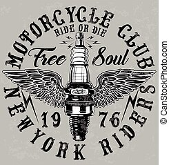 Motorcycle Poster Design Fashion Tee Graphic
