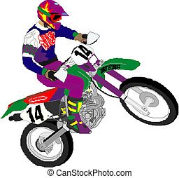Motorcycle racer - Vector illustration of a motorcycle racer...
