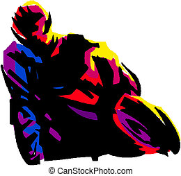 Vector illustration of a motorcycle racer