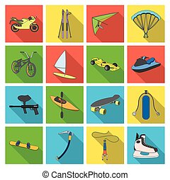 Motorcycle racing, downhill skiing, jumping, parachuting and other sports. Extreme sports set collection icons in flat style vector symbol stock illustration web.