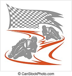 Motorcycle racing on the racetrack and checkered flag