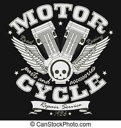 Motorcycle Racing Typography Graphics - vector