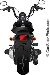 Motorcycle rear view. Vector illustration for designers