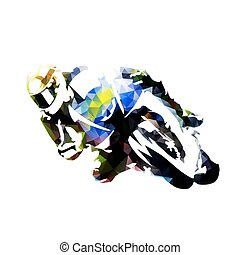 Motorcycle rider, abstract polygonal vector silhouette,...