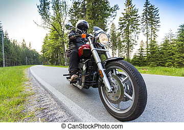 Motorcycle rider driving through forest