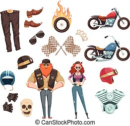 Motorcycle Rider Elements Collection