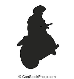 Motorcycle rider. Vector silhouette